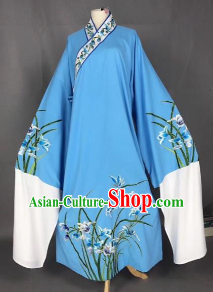 Chinese Traditional Beijing Opera Scholar Embroidered Orchid Blue Robe Peking Opera Niche Costume for Adults