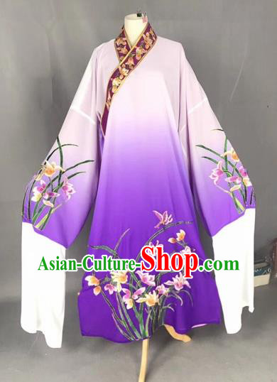 Chinese Traditional Beijing Opera Scholar Embroidered Orchid Gradient Purple Robe Peking Opera Niche Costume for Adults