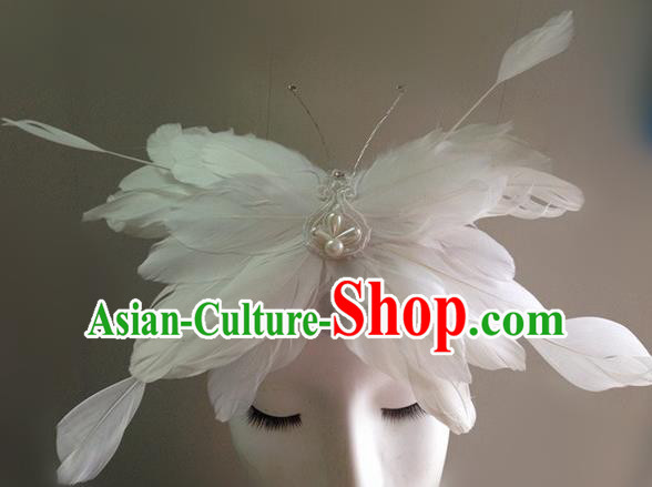 Top Halloween Catwalks Hair Accessories Stage Show White Feather Butterfly Headdress for Women