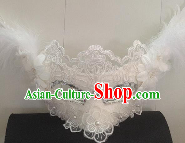 Top Halloween Accessories Brazilian Carnival Catwalks White Feather Face Masks for Women