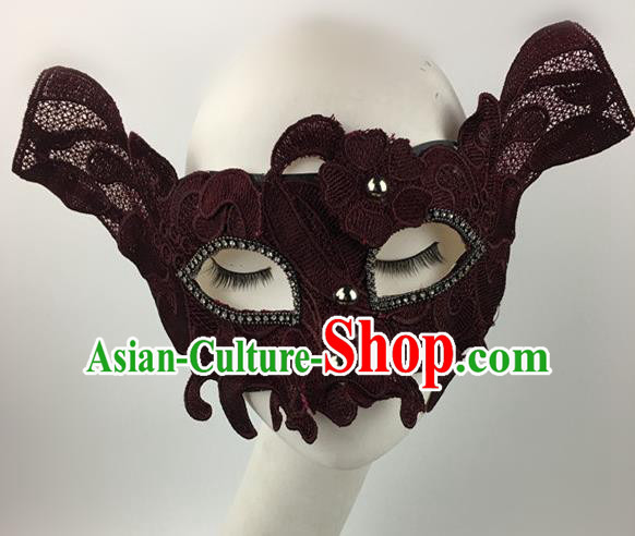 Top Halloween Accessories Brazilian Carnival Catwalks Wine Red Face Masks for Women