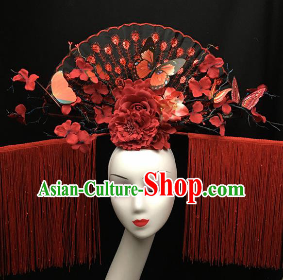 Chinese Stage Show Red Peony Tassel Hair Accessories Traditional Catwalks Palace Headdress for Women