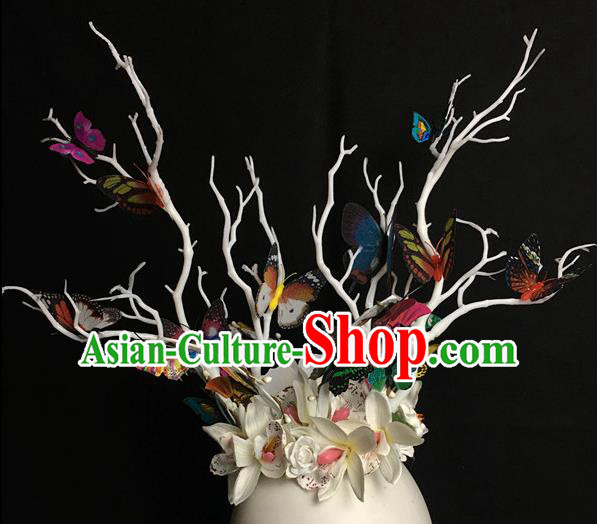Top Brazilian Carnival Stage Show Headpiece Royal Crown Halloween Catwalks White Flowers Hair Accessories for Women