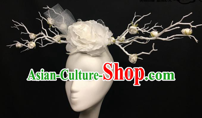 Top Brazilian Carnival Stage Show Headpiece Halloween Catwalks White Peony Hair Accessories for Women
