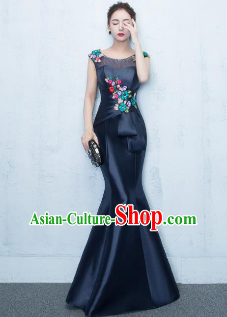 Top Stage Show Costumes Catwalks Compere Navy Satin Full Dress for Women