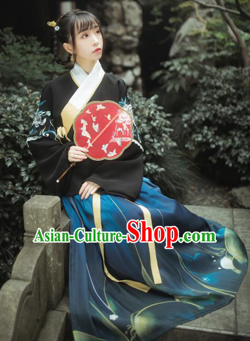 Traditional Chinese Ancient Ming Dynasty Princess Historical Costumes Blouse and Skirt Complete Set