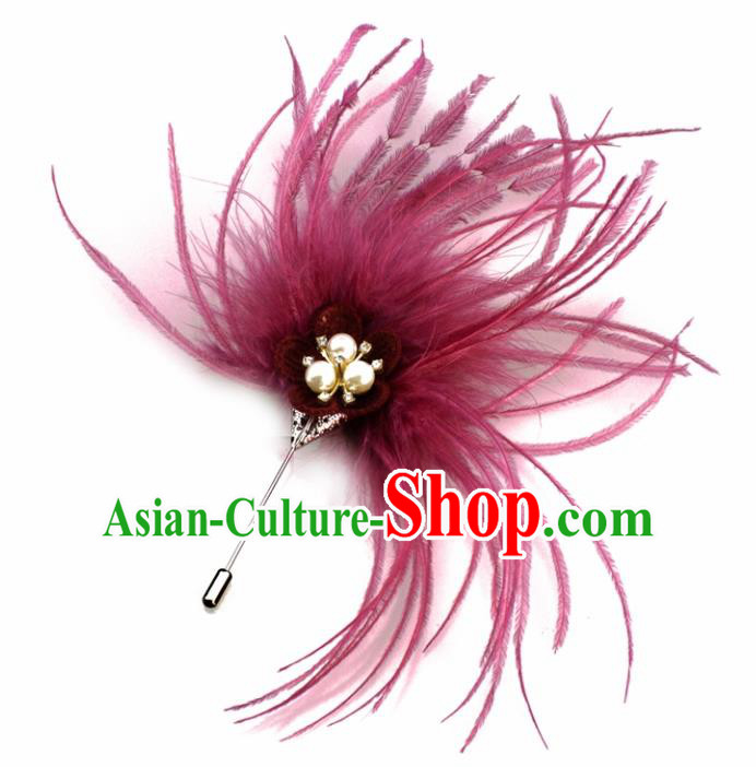 Handmade Breastpin Accessories Stage Show Wine Red Feather Brooch for Women