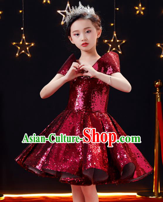 Top Modern Dance Costume Children Opening Dance Compere Catwalks Performance Bubble Full Dress for Girls Kids