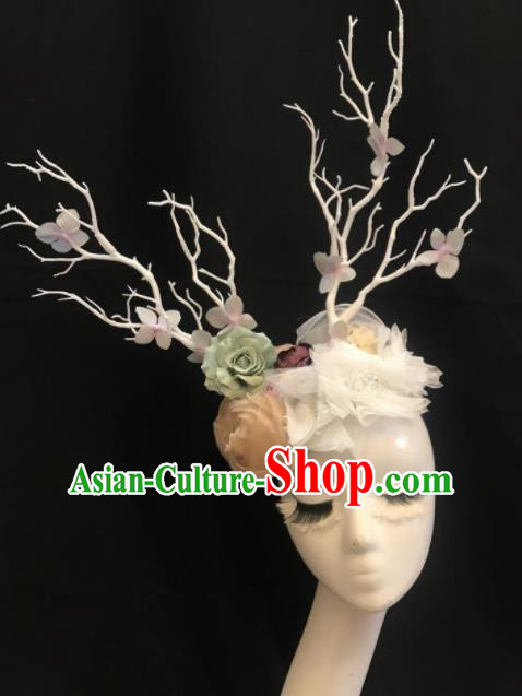 Top Halloween Stage Show Hair Accessories Brazilian Carnival Catwalks White Branch Peony Headdress for Women