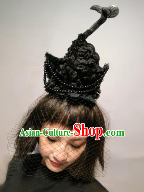 Top Halloween Stage Show Hair Accessories Brazilian Carnival Catwalks Black Flowers Swan Headdress for Women