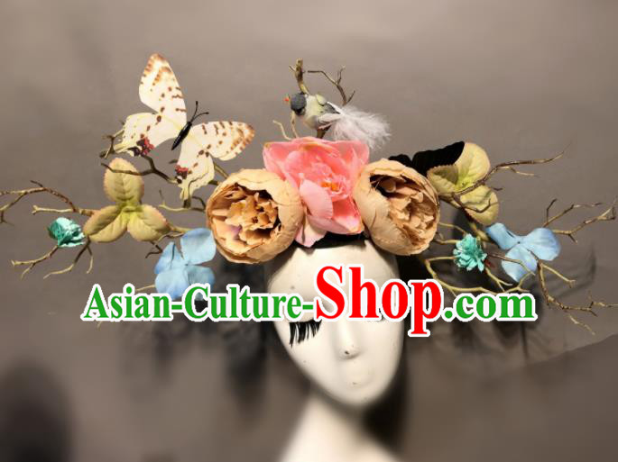 Top Halloween Stage Show Hair Accessories Brazilian Carnival Catwalks Peony Butterfly Headdress for Women