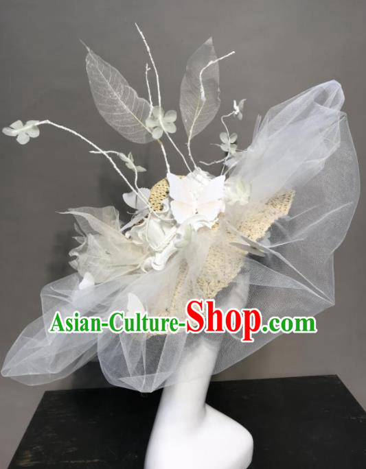 Top Halloween Stage Show Hair Accessories Brazilian Carnival Catwalks White Veil Top Hat Headdress for Women