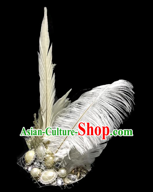 Top Halloween Stage Show White Feather Hair Accessories Brazilian Carnival Catwalks Headdress for Women