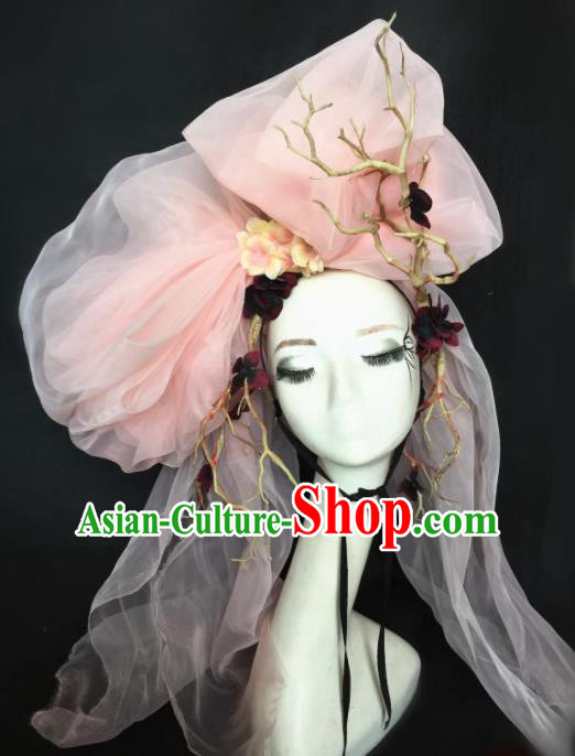 Top Halloween Stage Show Pink Veil Hair Accessories Brazilian Carnival Catwalks Headdress for Women