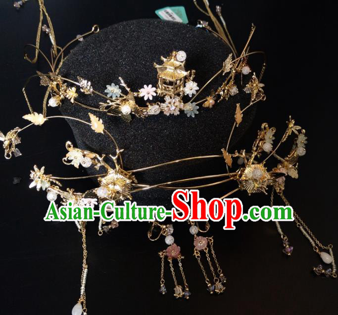 Top Chinese Traditional Wedding Hair Accessories Classical Golden Phoenix Coronet Hairpins Headdress for Women