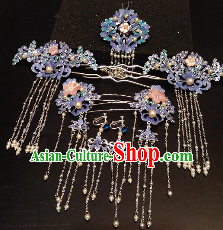 Top Chinese Traditional Hair Accessories Classical Blue Phoenix Coronet Hairpins Headdress for Women