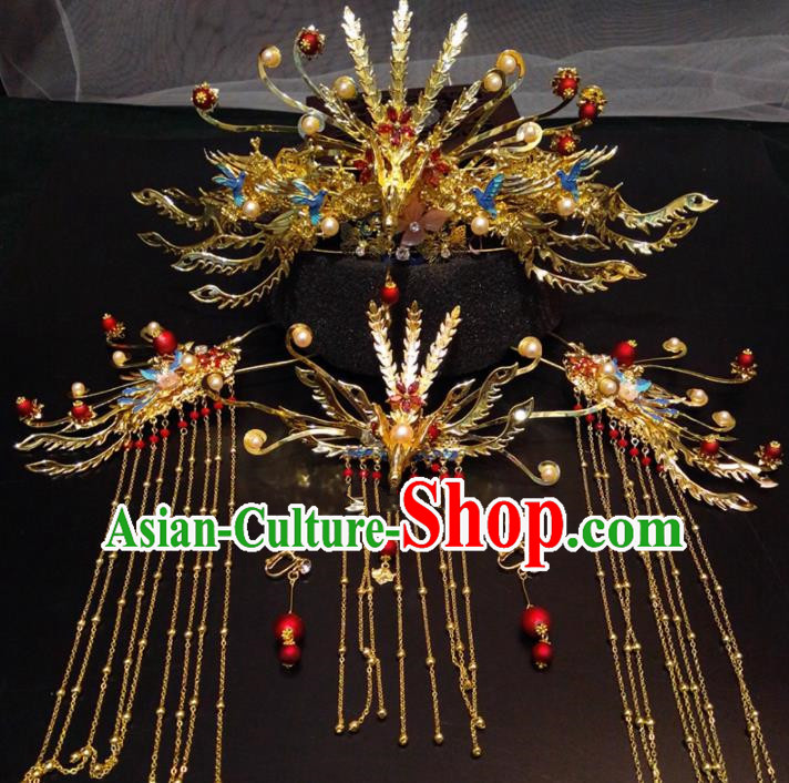 Top Chinese Traditional Golden Phoenix Coronet Wedding Hair Accessories Classical Hairpins Headdress for Women