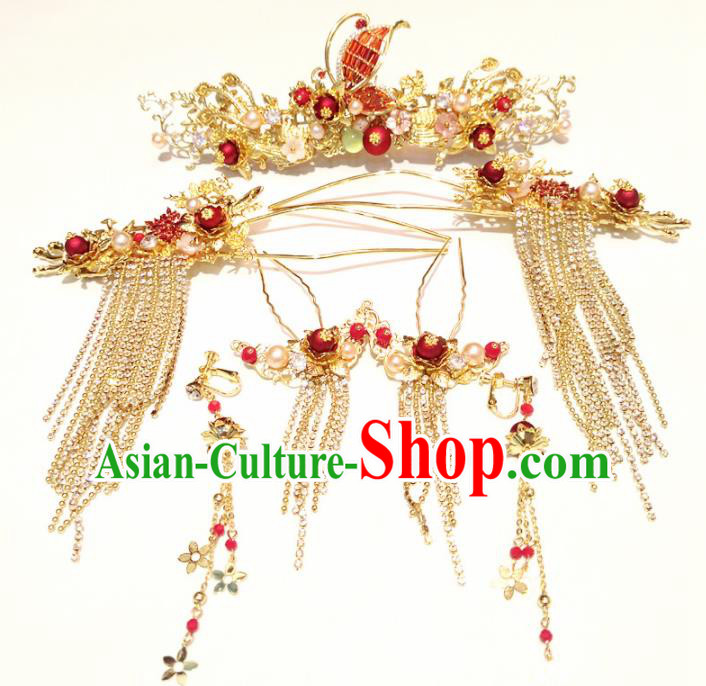 Top Chinese Traditional Wedding Red Butterfly Phoenix Coronet Classical Tassel Hairpins Headdress for Women
