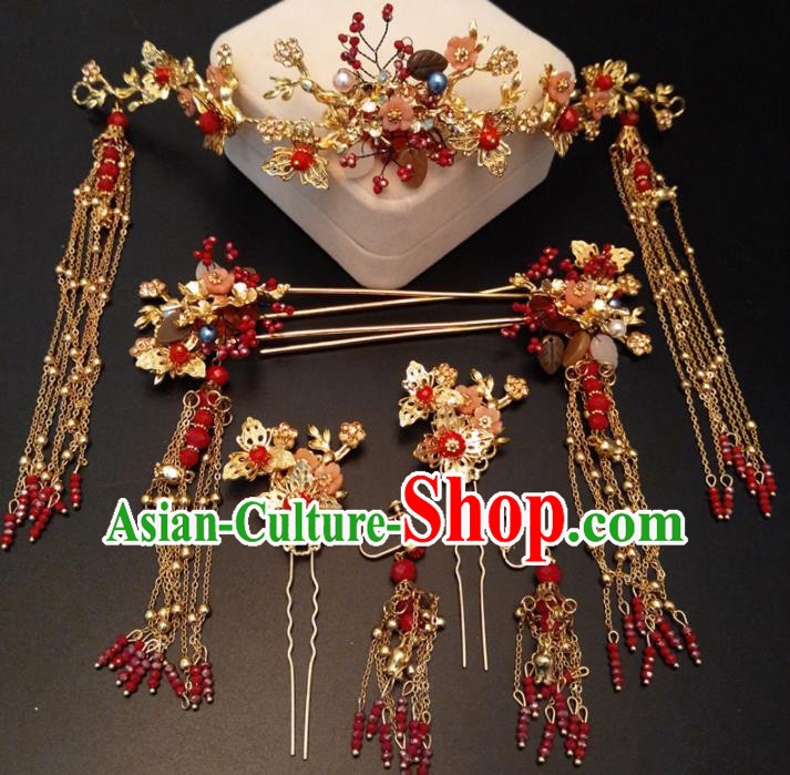 Top Chinese Traditional Wedding Phoenix Coronet Classical Red Tassel Hairpins Headdress for Women