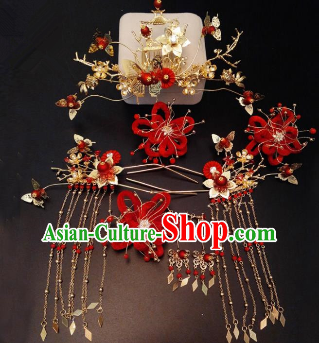 Top Chinese Traditional Wedding Phoenix Coronet Classical Red Hairpins Headdress for Women