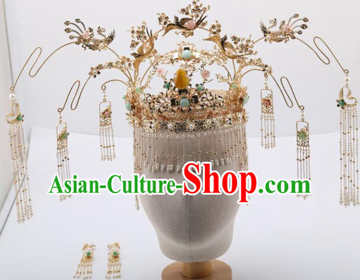 Top Chinese Traditional Wedding Hair Accessories Ancient Palace Phoenix Coronet Hairpins Complete Set for Women