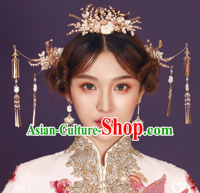 Top Chinese Traditional Wedding Hair Accessories Ancient Palace Hair Crown Hairpins Complete Set for Women