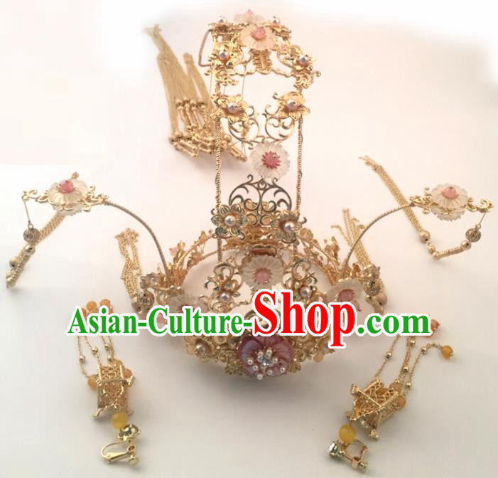 Top Chinese Traditional Hair Accessories Ancient Wedding Phoenix Coronet Palace Hairpins Complete Set for Women