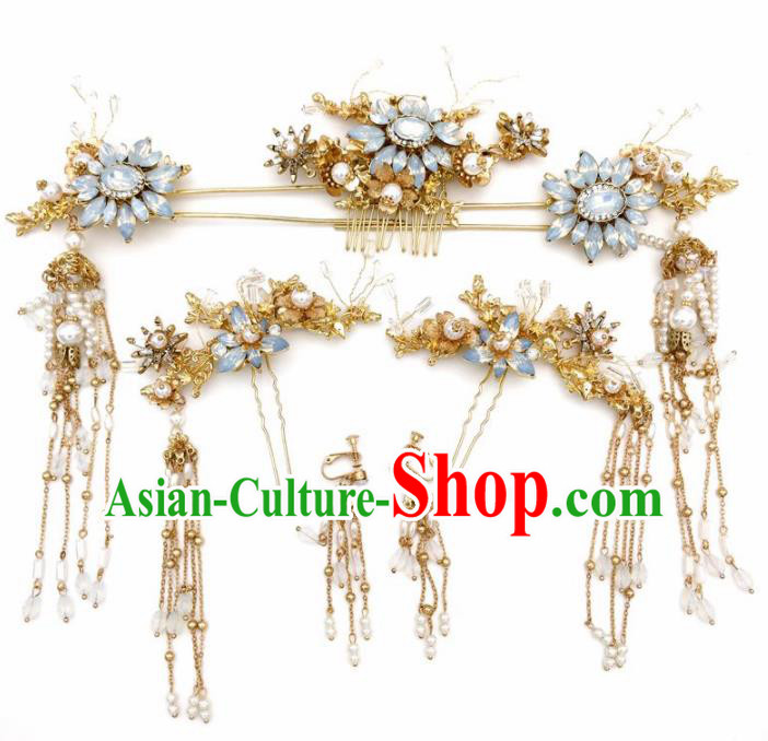 Top Chinese Traditional Wedding Hair Accessories Ancient Opal Hair Combs Hairpins Complete Set for Women