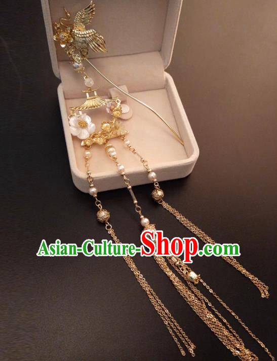 Top Chinese Traditional Hair Accessories Ancient Classical Crane Tassel Step Shake Palace Hairpins for Women