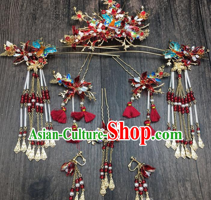 Top Chinese Ancient Traditional Wedding Hair Accessories Red Butterfly Phoenix Coronet Hairpins Complete Set for Women