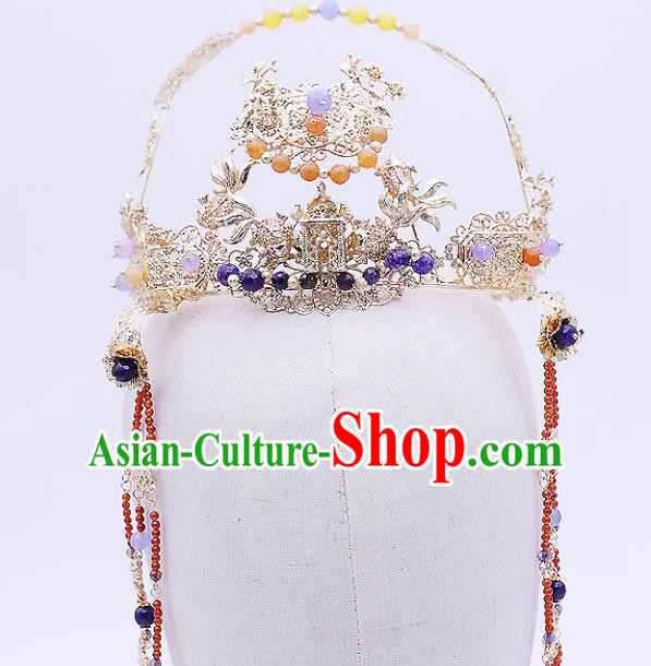 Top Chinese Ancient Traditional Wedding Hair Accessories Golden Phoenix Coronet Hairpins Complete Set for Women