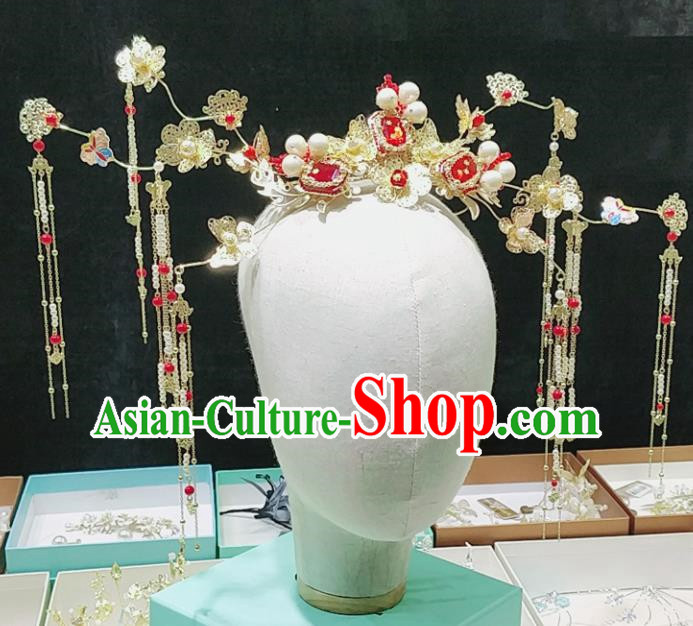 Top Chinese Ancient Traditional Wedding Hair Accessories Red Gem Phoenix Coronet Hairpins Complete Set for Women