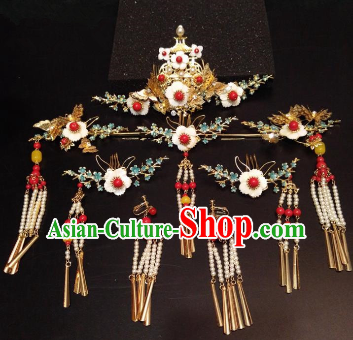 Top Chinese Ancient Traditional Hair Accessories Wedding Phoenix Coronet Hairpins Complete Set for Women