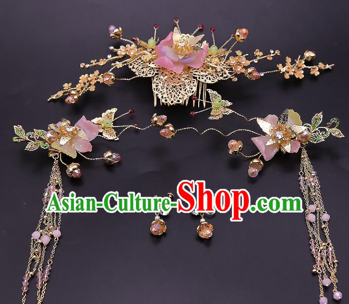 Top Chinese Ancient Traditional Hair Accessories Wedding Pink Lotus Hairpins Complete Set for Women