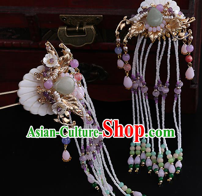 Top Chinese Traditional Hair Accessories Ancient Classical Tassel Step Shake Palace Hairpins for Women