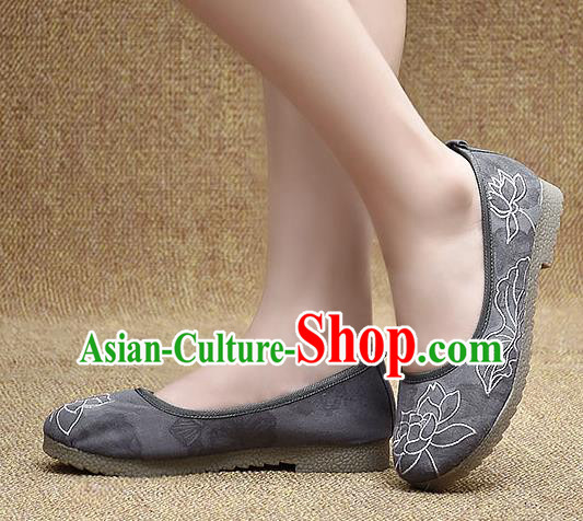 Chinese Shoes Wedding Shoes Traditional Embroidered Lotus Shoes Bride Grey Shoes for Women