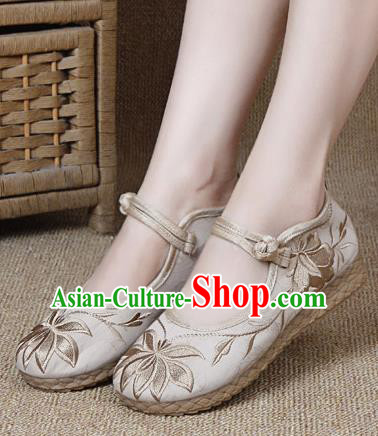 Chinese Shoes Wedding Shoes Traditional Embroidered Shoes Embroidery Lotus Beige Hanfu Shoes for Women