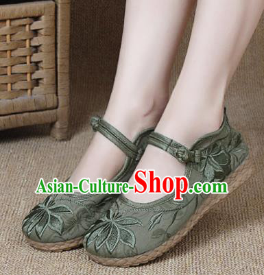 Chinese Shoes Wedding Shoes Traditional Embroidered Shoes Embroidery Lotus Green Hanfu Shoes for Women