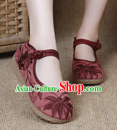Chinese Shoes Wedding Shoes Traditional Embroidered Shoes Embroidery Lotus Red Hanfu Shoes for Women