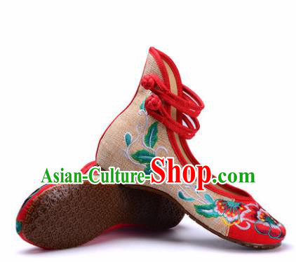 Chinese Shoes Wedding Shoes Traditional Embroidered Shoes Embroidery Peony Hanfu Shoes for Women