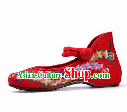 Chinese Shoes Wedding Shoes Traditional Red Embroidered Shoes Embroidery Phoenix Hanfu Shoes for Women