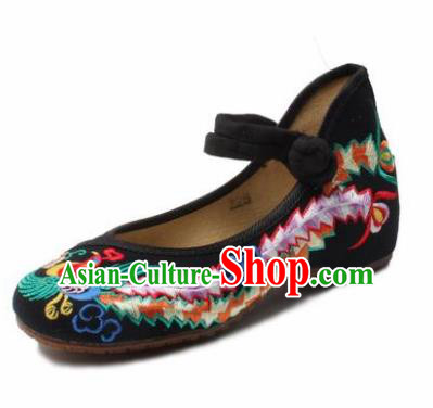 Chinese Shoes Wedding Shoes Traditional Black Embroidered Shoes Embroidery Phoenix Hanfu Shoes for Women