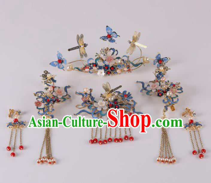 Top Chinese Traditional Wedding Hair Accessories Classical Phoenix Coronet Blue Butterfly Hairpins Headdress for Women