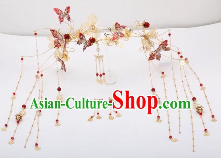 Top Chinese Traditional Wedding Hair Accessories Ancient Palace Red Butterfly Phoenix Coronet Hairpins Headdress for Women