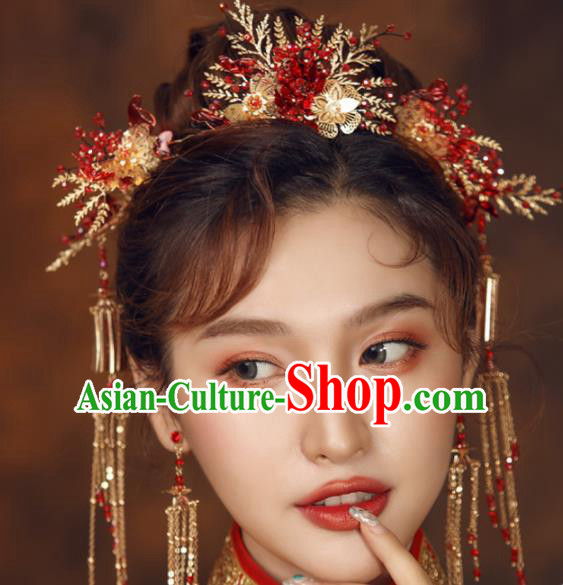 Top Chinese Traditional Wedding Hair Accessories Ancient Red Flowers Hairpins Complete Set for Women