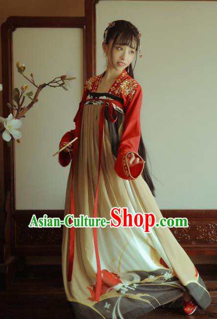 Traditional Chinese Tang Dynasty Replica Costumes Ancient Palace Princess Hanfu Dress for Women