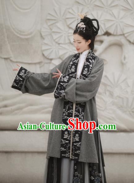 Chinese Ancient Drama Nobility Lady Hanfu Dress Traditional Jin Dynasty Poetess Xie Daoyun Replica Costumes for Women