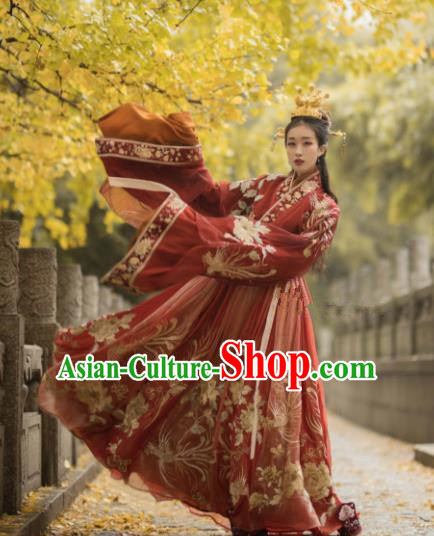 Chinese Ancient Drama Palace Lady Wedding Red Hanfu Dress Traditional Jin Dynasty Princess Replica Costumes for Women