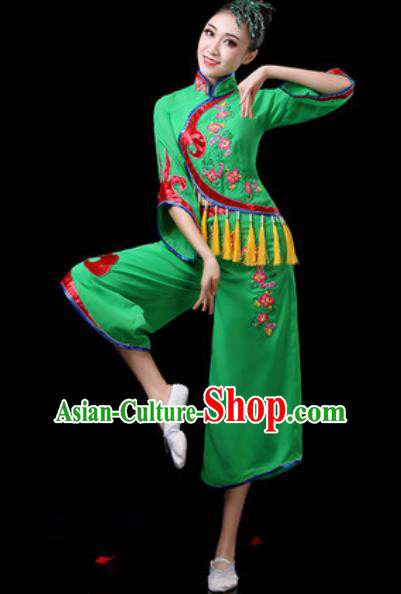 Chinese Traditional Folk Dance Costumes Fan Dance Group Dance Green Dress for Women