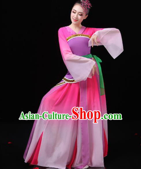 Chinese Traditional Classical Dance Costumes Umbrella Dance Group Dance Rosy Dress for Women